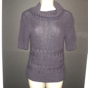 Loft S Sweater Purple Cowl Neckline Short Sleeves